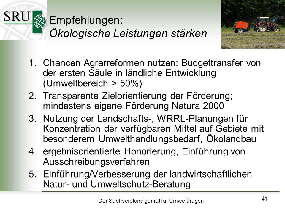 Empfehlungen: Ökologische Leistungen stärken