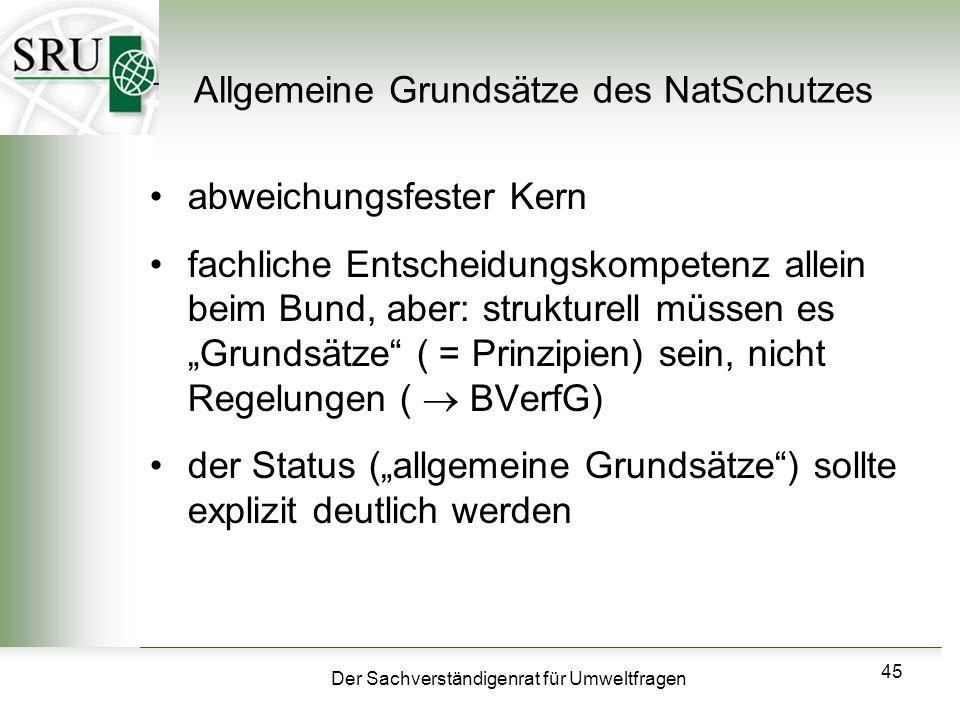 Allgemeine Grundsätze des NatSchutzes