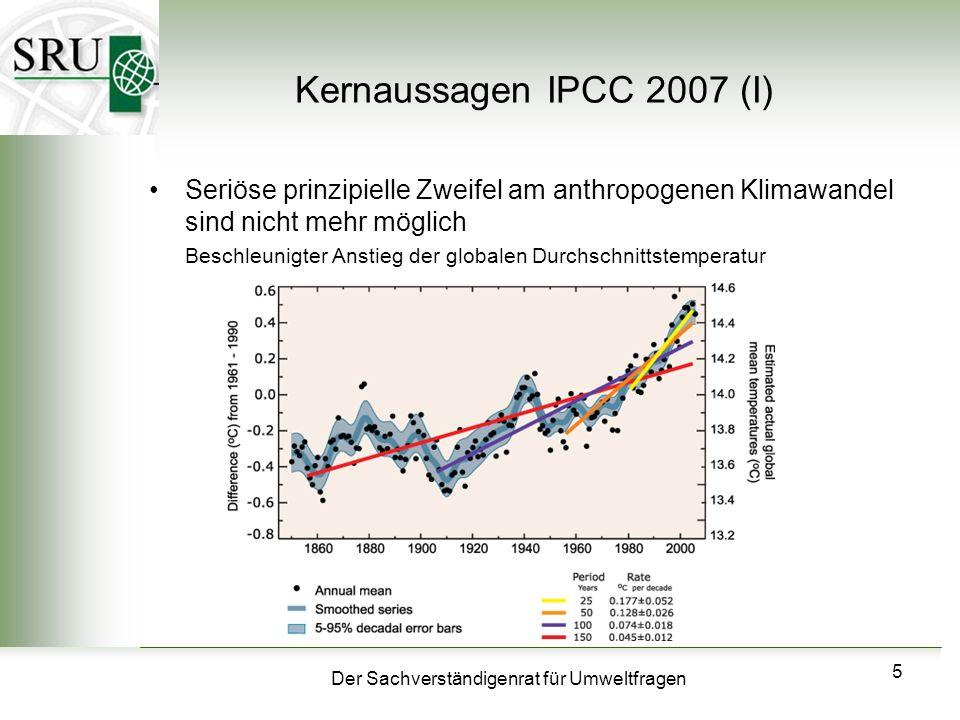 Kernaussagen IPCC 2007 (I)Seriöse prinzipielle Zweifel am anthropogenen Klimawandel sind nicht mehr möglich.