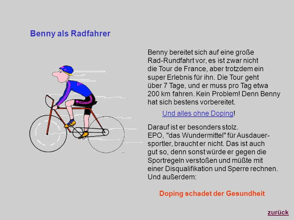 Benny als RadfahrerBenny bereitet sich auf eine große Rad-Rundfahrt vor, es ist zwar nicht. die Tour de France, aber trotzdem ein.