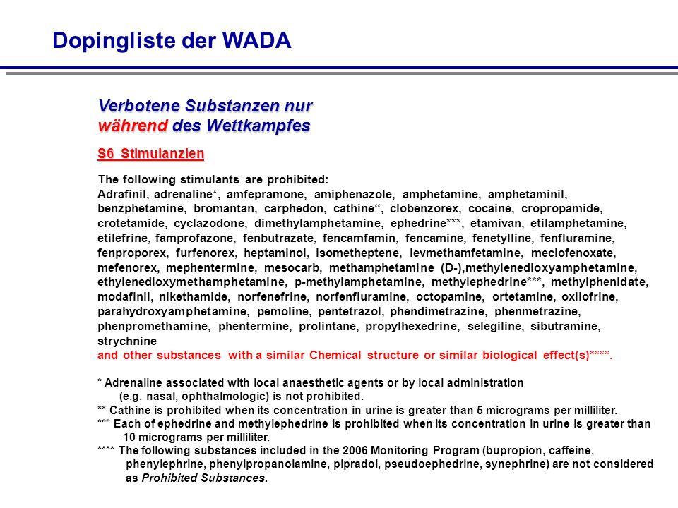 Dopingliste der WADA S6 Stimulanzien