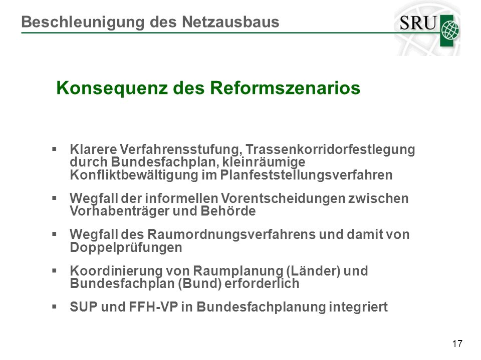 Konsequenz des Reformszenarios