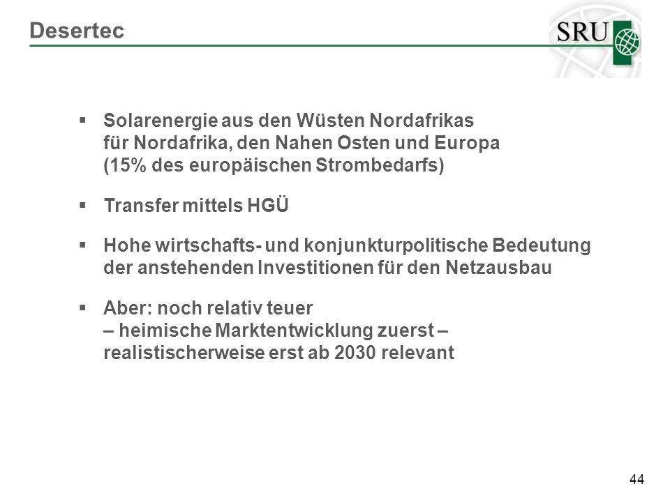 Desertec Solarenergie aus den Wüsten Nordafrikas für Nordafrika, den Nahen Osten und Europa (15% des europäischen Strombedarfs)
