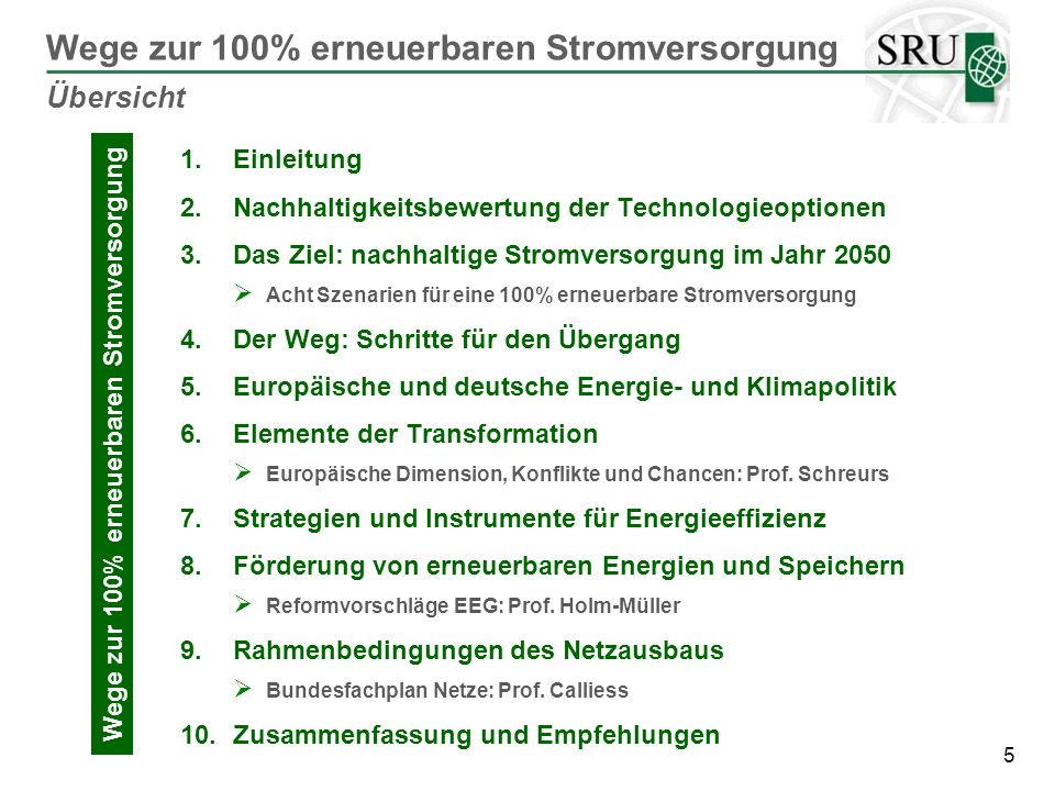 Wege zur 100% erneuerbaren Stromversorgung