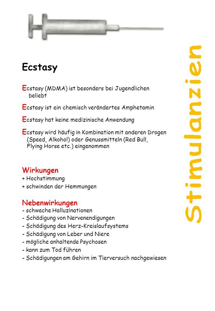 Ecstasy Ecstasy (MDMA) ist besonders bei Jugendlichen