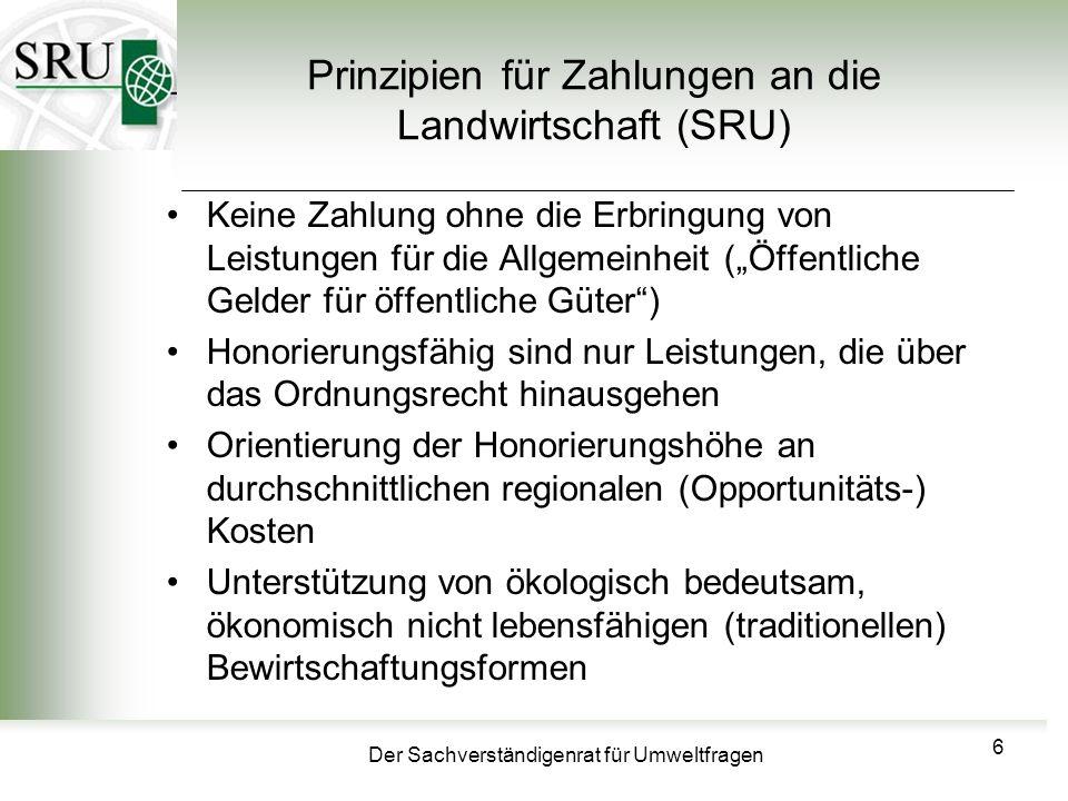 Prinzipien für Zahlungen an die Landwirtschaft (SRU)