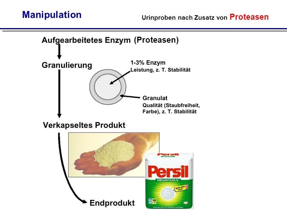 Manipulation Urinproben nach Zusatz von Proteasen (Proteasen)