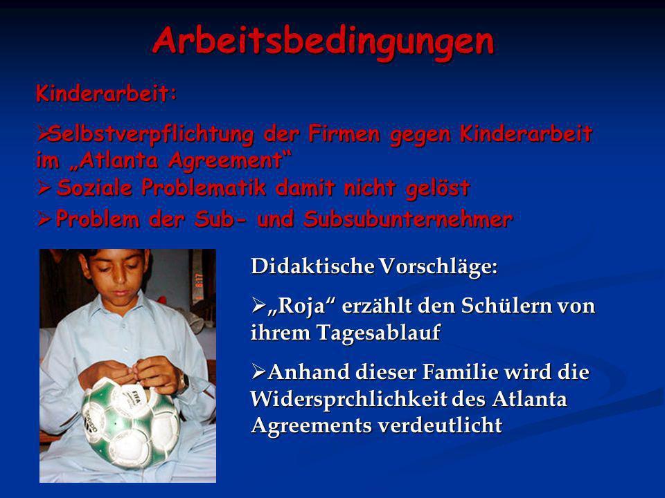 Arbeitsbedingungen Kinderarbeit: