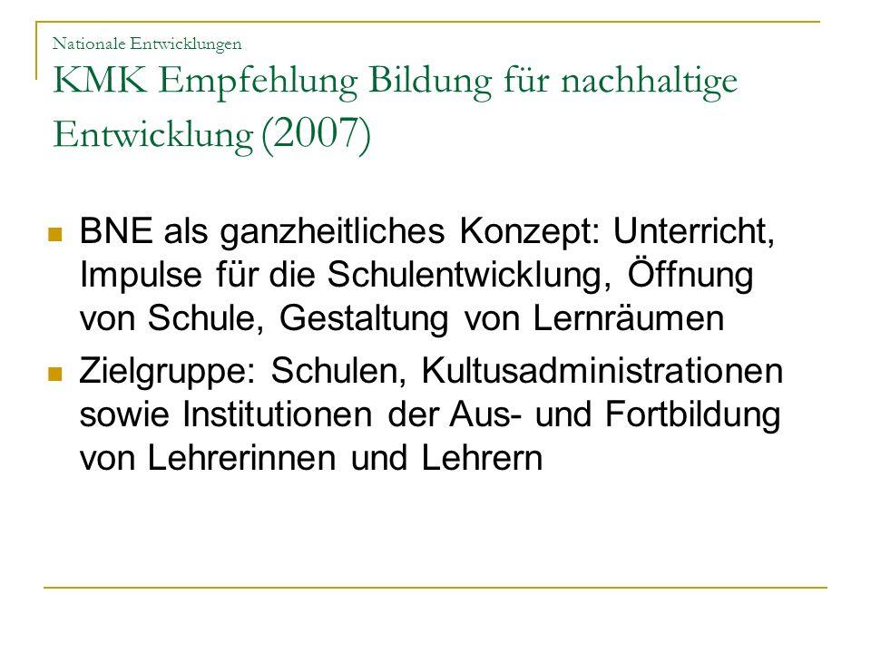 Nationale Entwicklungen KMK Empfehlung Bildung für nachhaltige Entwicklung (2007)