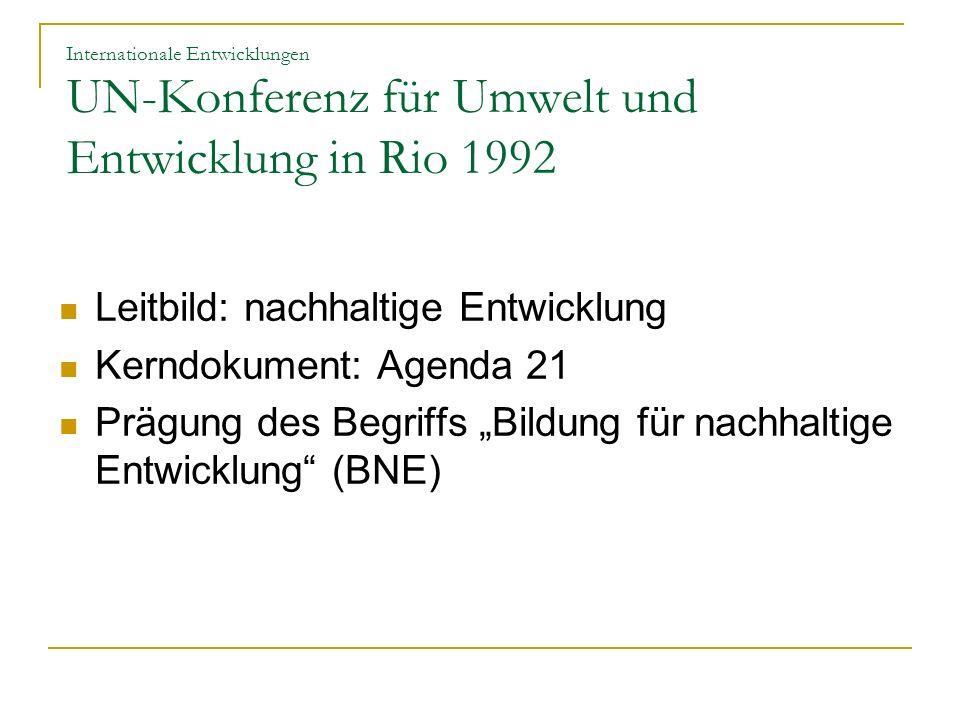 Leitbild: nachhaltige Entwicklung Kerndokument: Agenda 21