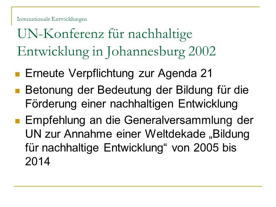 Erneute Verpflichtung zur Agenda 21