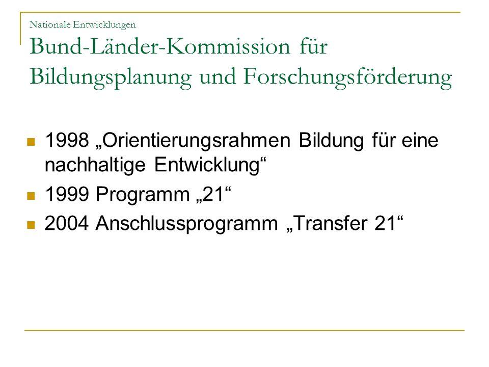 """1998 """"Orientierungsrahmen Bildung für eine nachhaltige Entwicklung"""