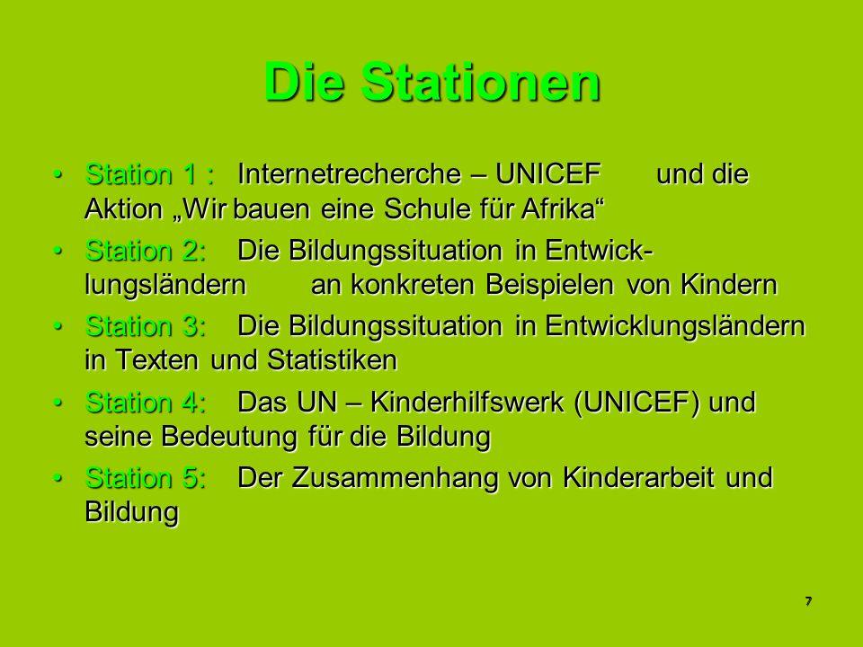 """Die Stationen Station 1 : Internetrecherche – UNICEF und die Aktion """"Wir bauen eine Schule für Afrika"""