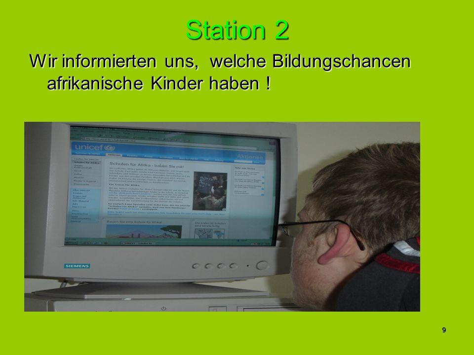 Station 2 Wir informierten uns, welche Bildungschancen afrikanische Kinder haben ! 9