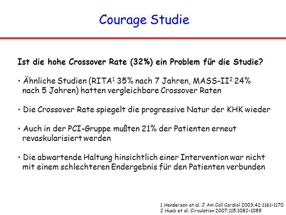 Courage Studie Ist die hohe Crossover Rate (32%) ein Problem für die Studie Ähnliche Studien (RITA1 35% nach 7 Jahren, MASS-II2 24%