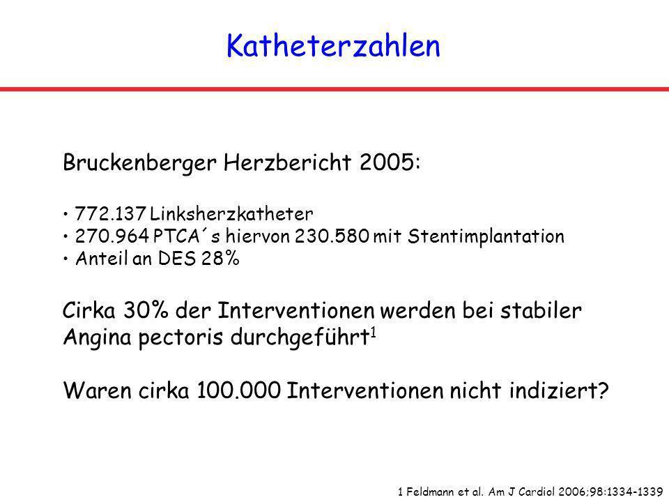 Katheterzahlen Bruckenberger Herzbericht 2005: