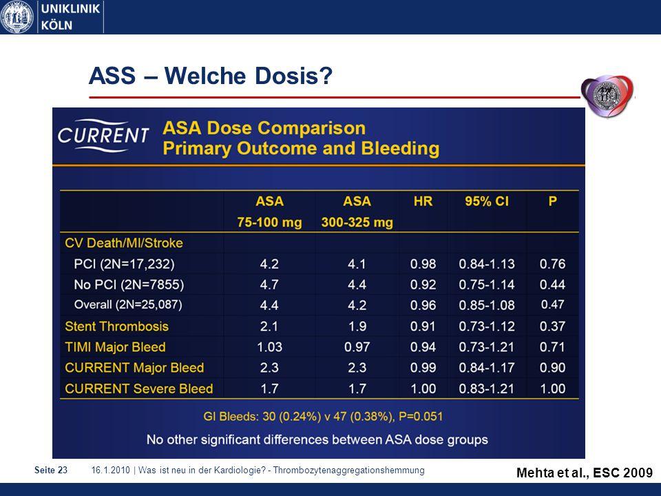 ASS – Welche Dosis Mehta et al., ESC 2009 1