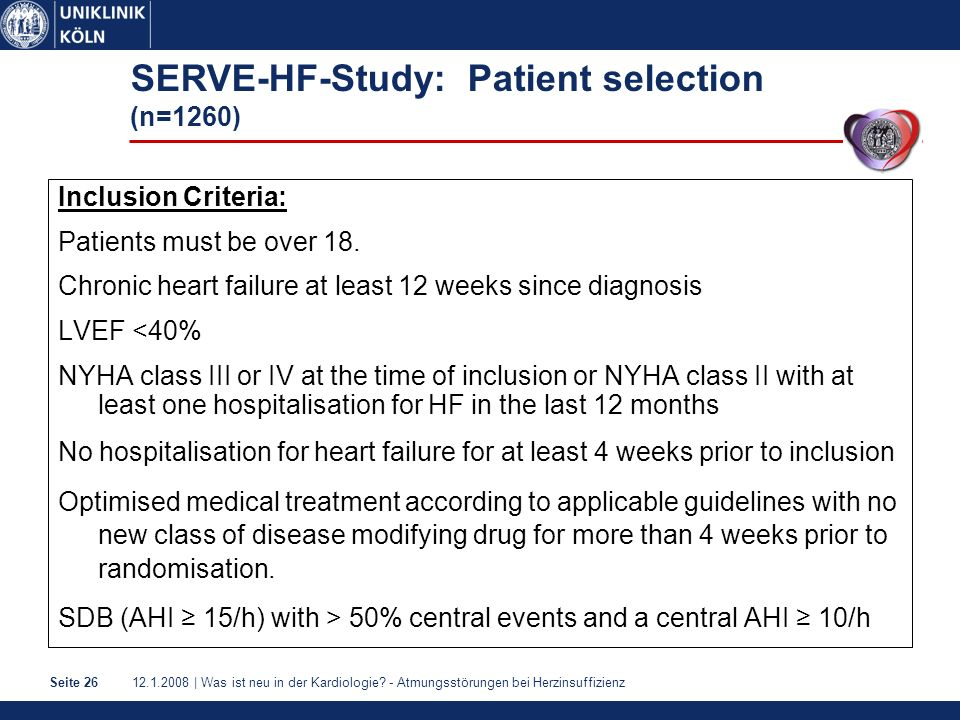 SERVE-HF-Study: Patient selection (n=1260)
