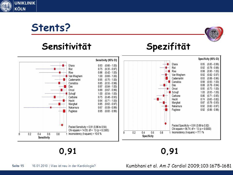Stents Sensitivität Spezifität 0,91 0,91