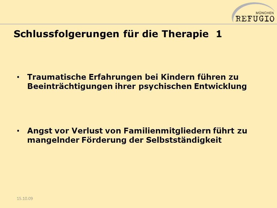 Schlussfolgerungen für die Therapie 1