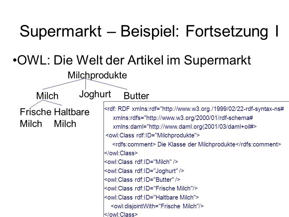 Supermarkt – Beispiel: Fortsetzung I