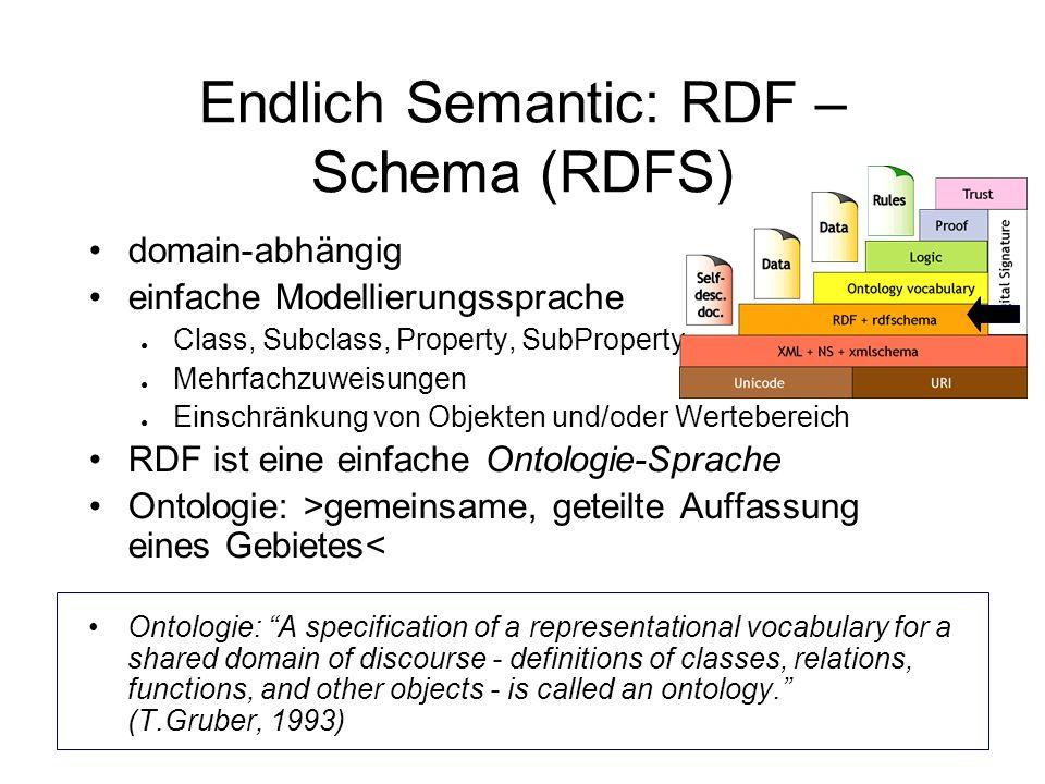Endlich Semantic: RDF – Schema (RDFS)