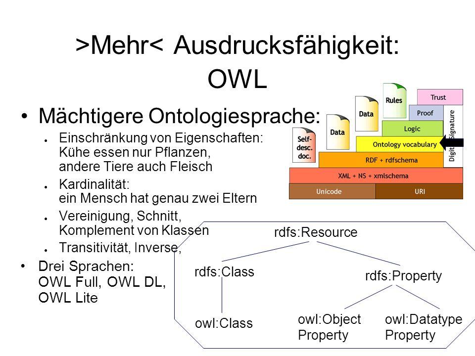 >Mehr< Ausdrucksfähigkeit: OWL