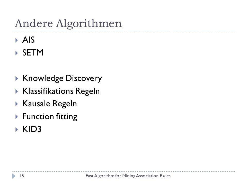 Andere Algorithmen AIS SETM Knowledge Discovery Klassifikations Regeln