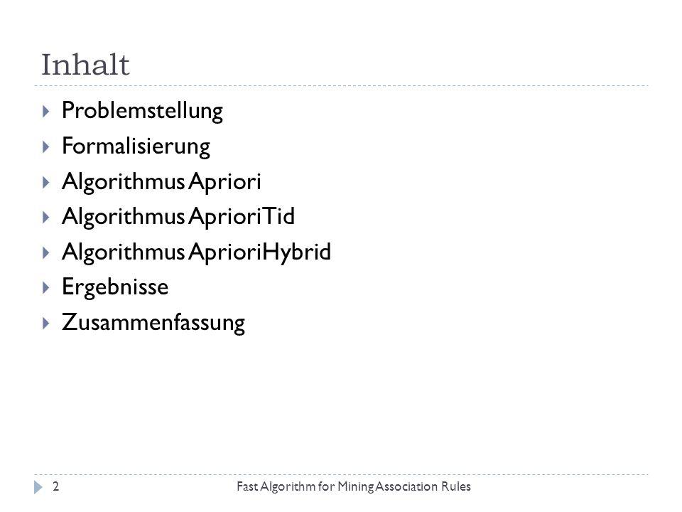 Inhalt Problemstellung Formalisierung Algorithmus Apriori