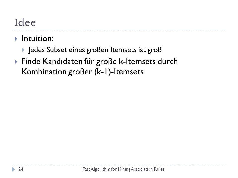IdeeIntuition: Jedes Subset eines großen Itemsets ist groß. Finde Kandidaten für große k-Itemsets durch Kombination großer (k-1)-Itemsets.