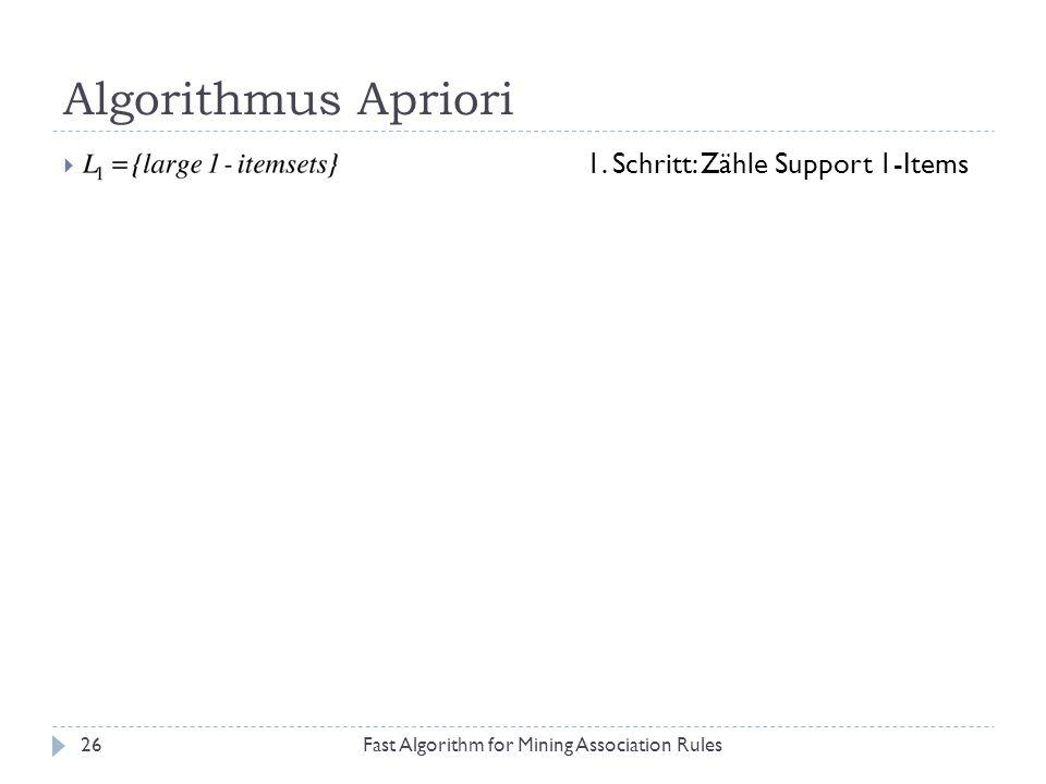 Algorithmus Apriori 1. Schritt: Zähle Support 1-Items