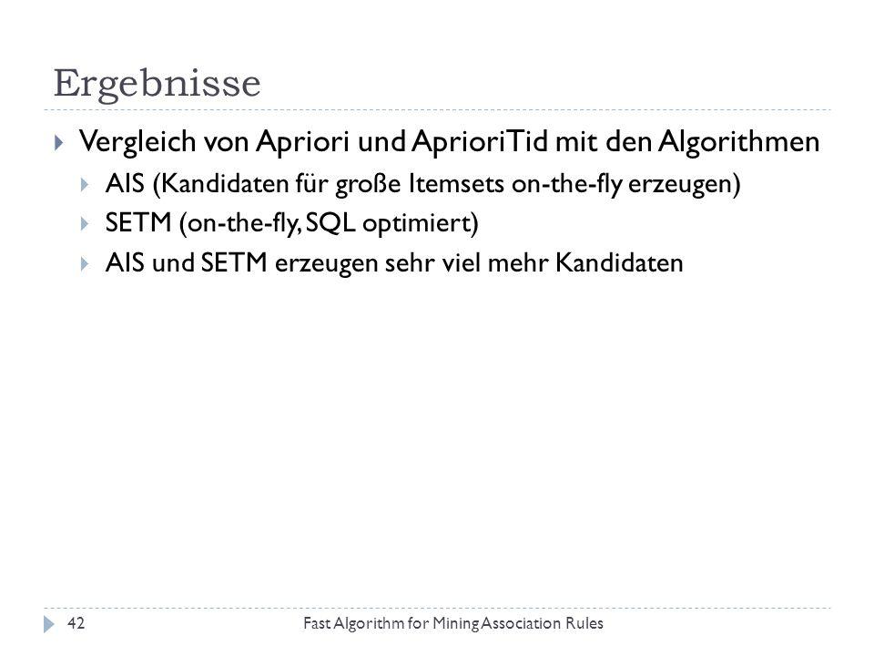 Ergebnisse Vergleich von Apriori und AprioriTid mit den Algorithmen