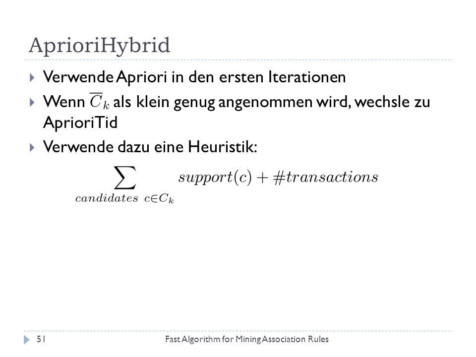 AprioriHybrid Verwende Apriori in den ersten Iterationen