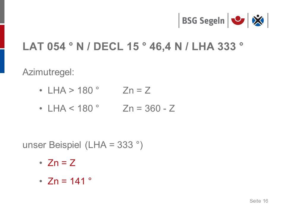 LAT 054 ° N / DECL 15 ° 46,4 N / LHA 333 ° Azimutregel: