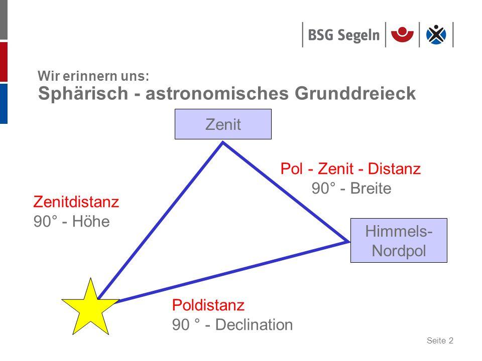 Wir erinnern uns: Sphärisch - astronomisches Grunddreieck