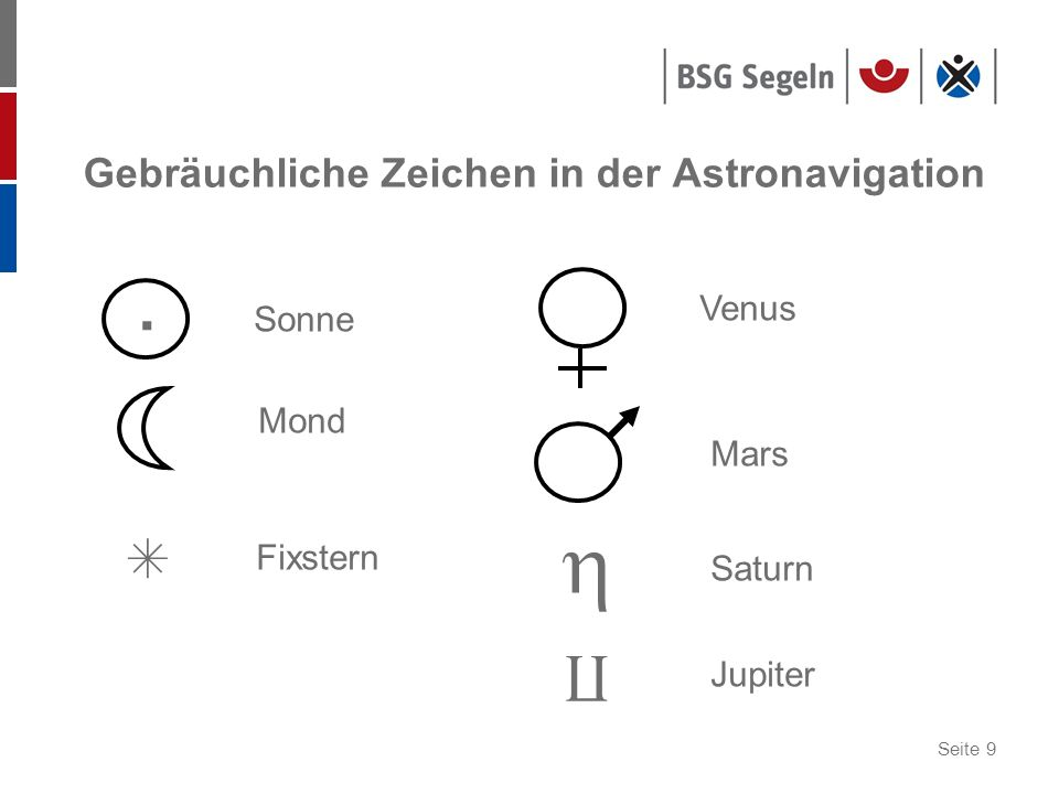 Gebräuchliche Zeichen in der Astronavigation