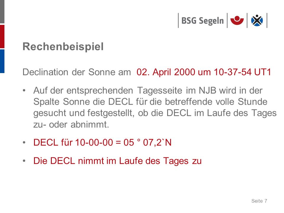 Rechenbeispiel Declination der Sonne am 02. April 2000 um 10-37-54 UT1