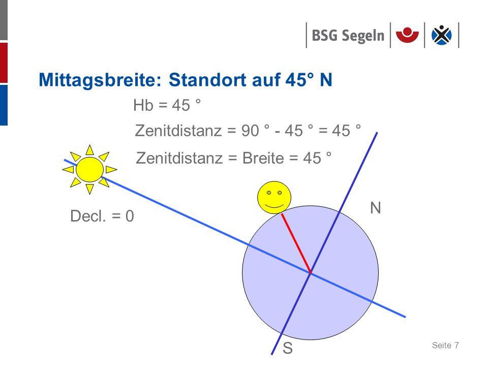 Mittagsbreite: Standort auf 45° N