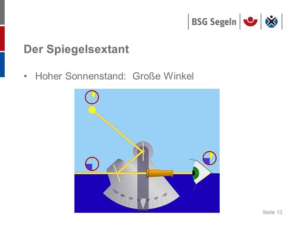 Der Spiegelsextant Hoher Sonnenstand: Große Winkel