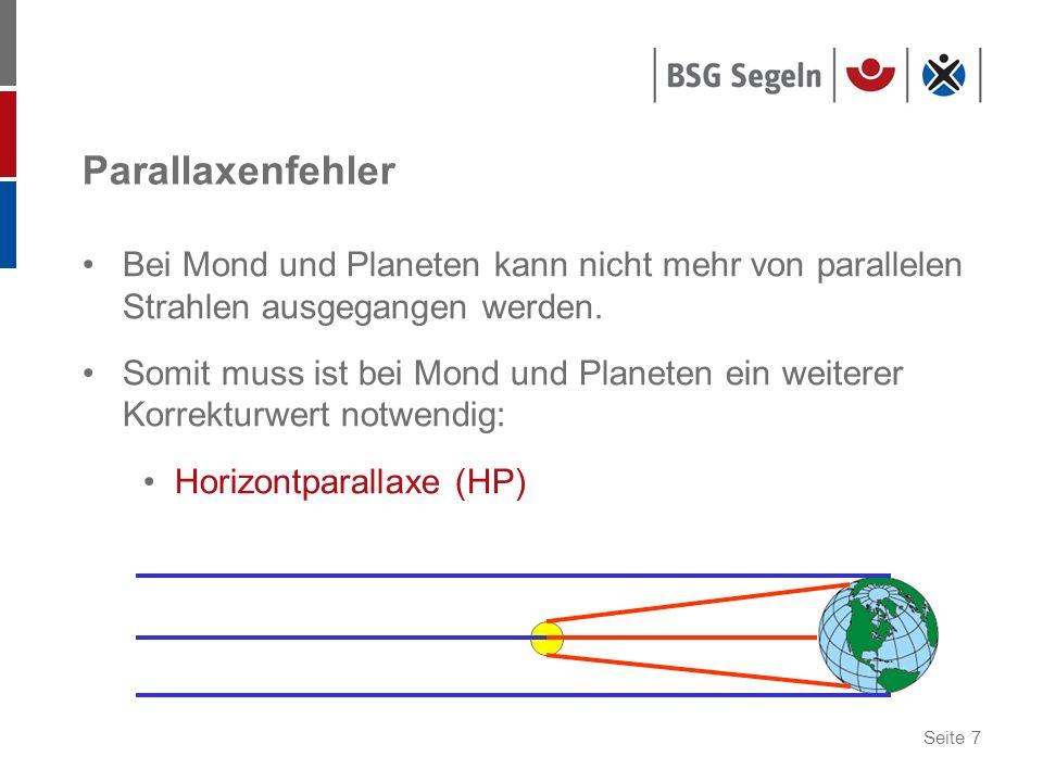 Parallaxenfehler Bei Mond und Planeten kann nicht mehr von parallelen Strahlen ausgegangen werden.