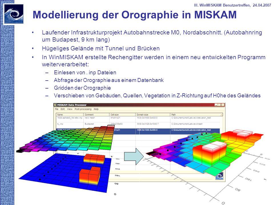 Modellierung der Orographie in MISKAM