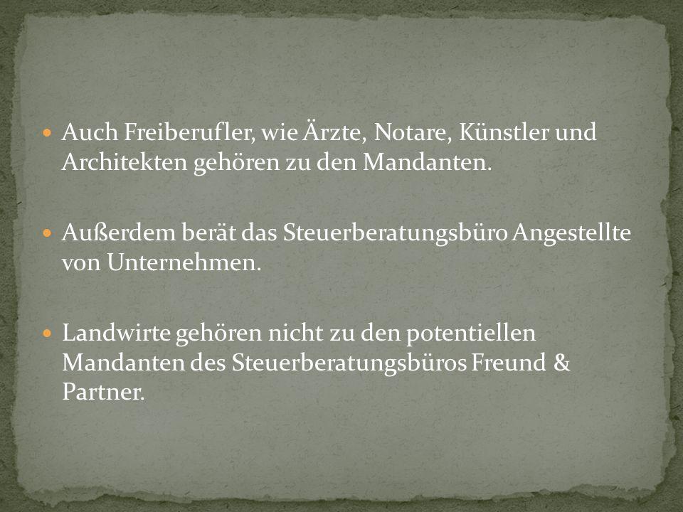 Auch Freiberufler, wie Ärzte, Notare, Künstler und Architekten gehören zu den Mandanten.