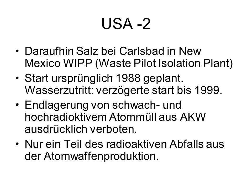 USA -2Daraufhin Salz bei Carlsbad in New Mexico WIPP (Waste Pilot Isolation Plant)