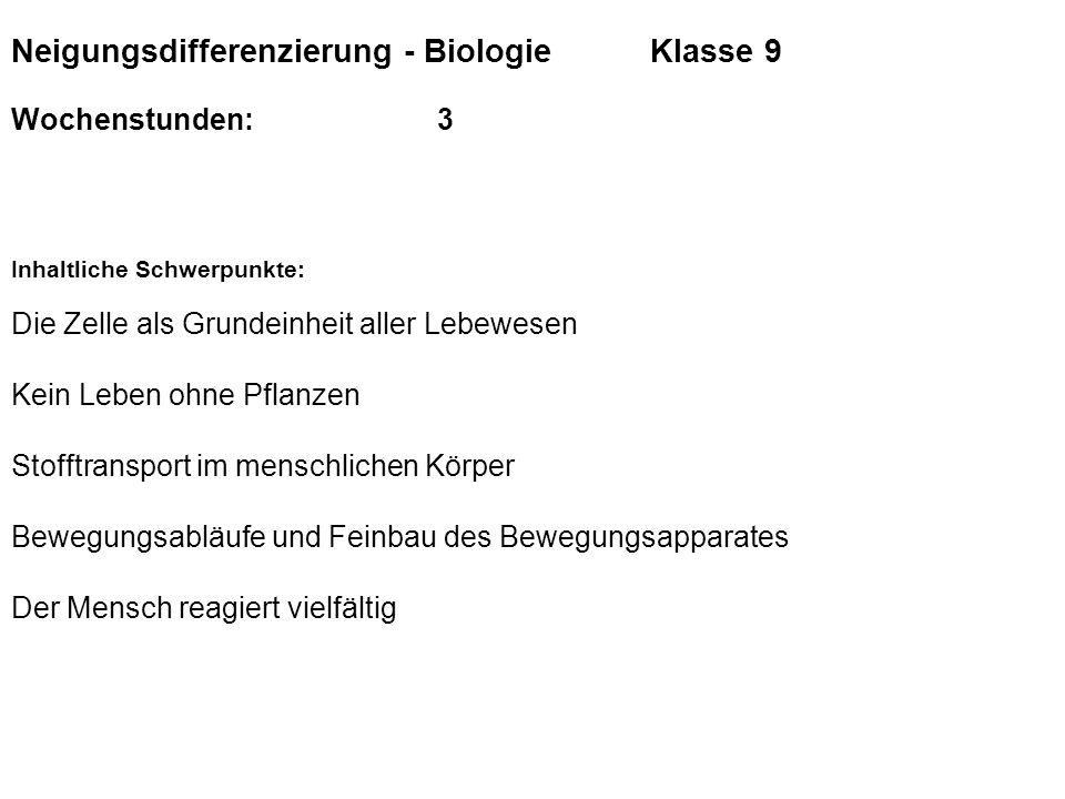 Neigungsdifferenzierung - Biologie Klasse 9