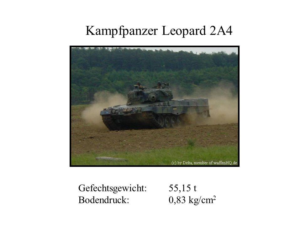 Kampfpanzer Leopard 2A4 Gefechtsgewicht: 55,15 t Bodendruck: 0,83 kg/cm2