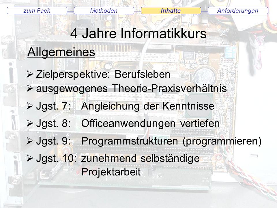 4 Jahre Informatikkurs Allgemeines Zielperspektive: Berufsleben