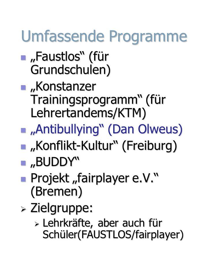 """Umfassende Programme """"Faustlos (für Grundschulen)"""