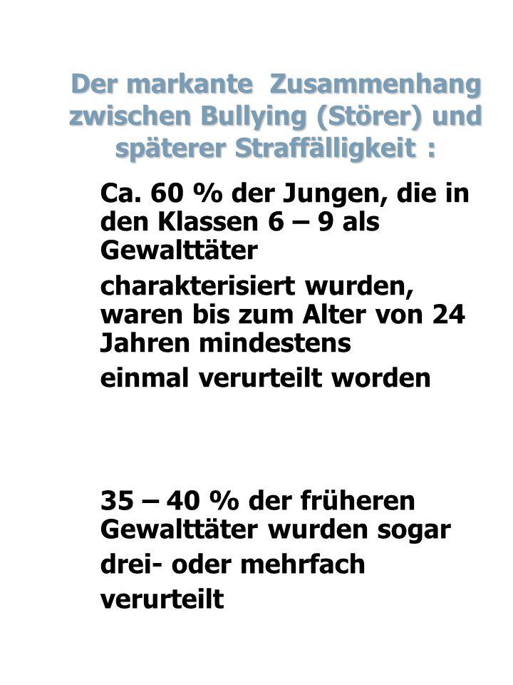 Der markante Zusammenhang zwischen Bullying (Störer) und späterer Straffälligkeit :