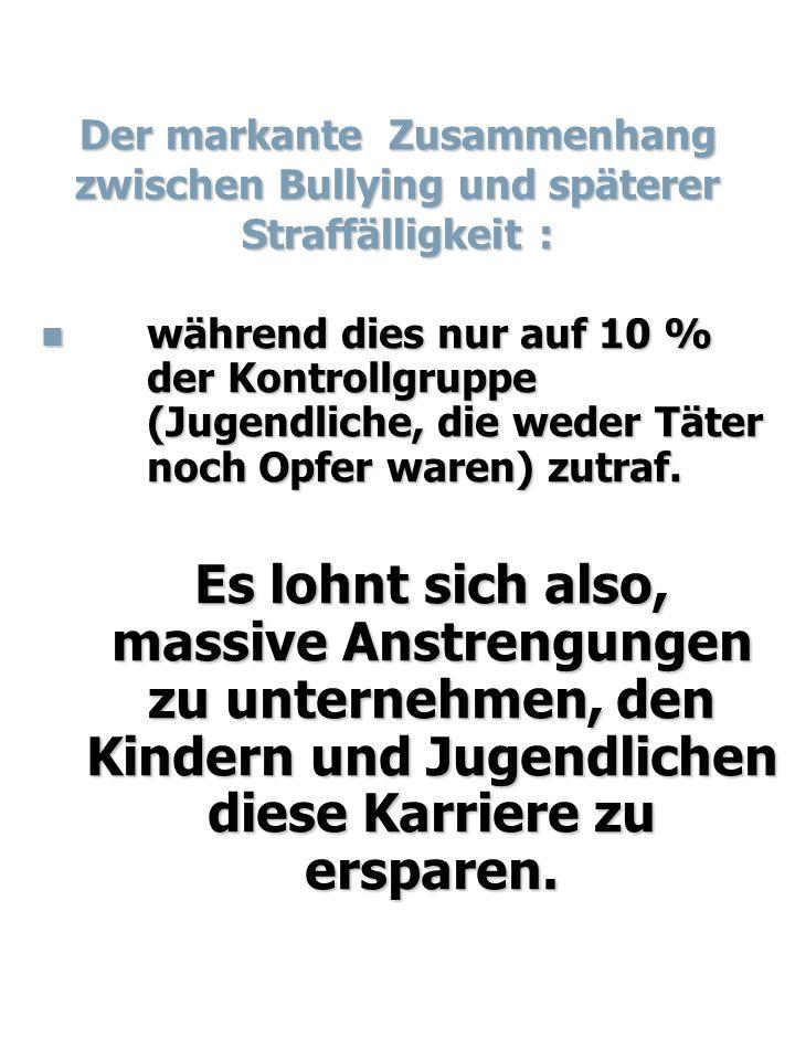 Der markante Zusammenhang zwischen Bullying und späterer Straffälligkeit :