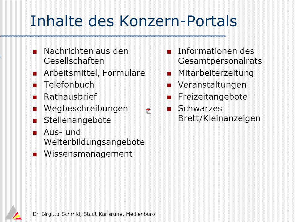 Inhalte des Konzern-Portals